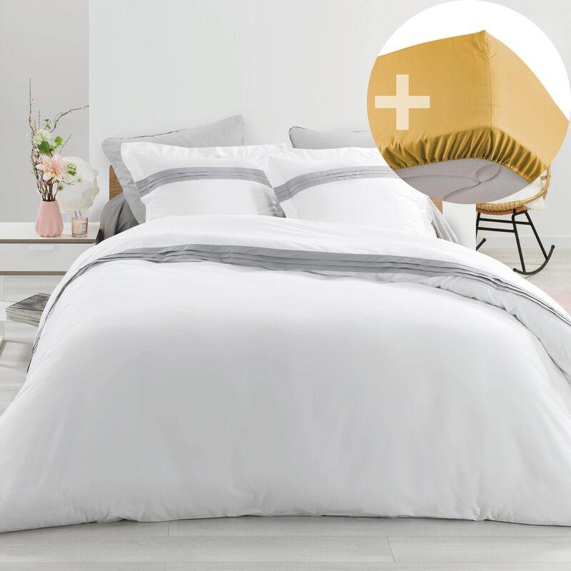AUCUNE MARQUE Pack Housse de couette hôtel 220x240 cm Percale luxe Astoria blanc + drap housse 140x190 Jaune