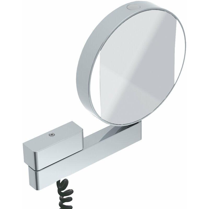 EMCO Miroir cosmétique et de rasage à LED réfléchissant des deux côtés, grossissement 3 et 7 fois, rond, éclairage à LED, bras articulé, câble spiralé et