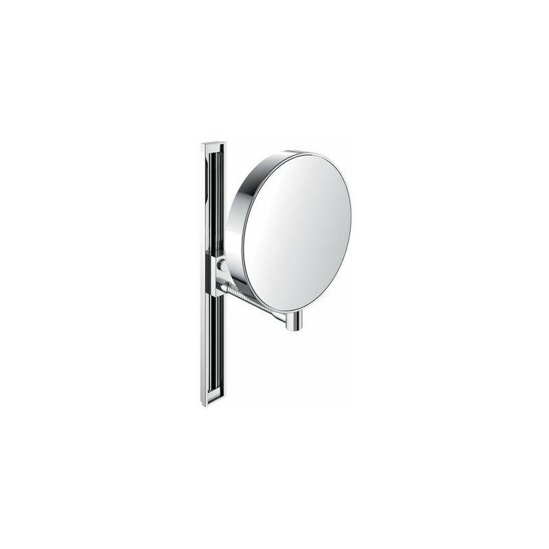 EMCO Miroir cosmétique et de rasage Emco, réfléchissant des deux côtés, grossissement 3x et 7x, rond, bras flexible, glissière, non éclairé - 109500115