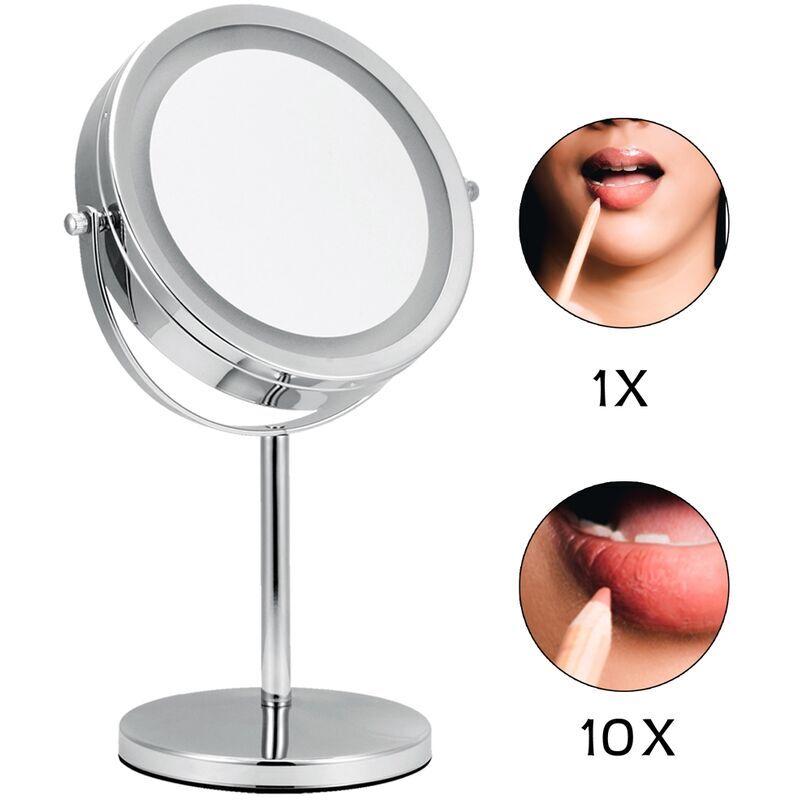 MUCOLA Miroir cosmétique miroir de maquillage miroir de bain miroir de maquillage miroir de rasage LED 10 plis