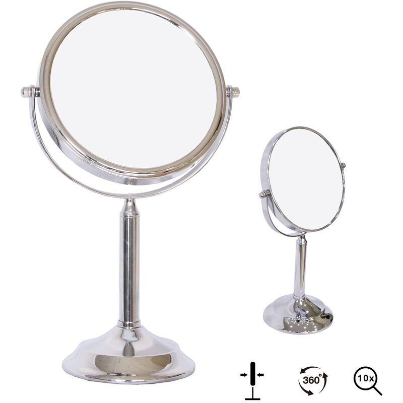 MUCOLA Miroir cosmétique Miroir grossissant Miroir de maquillage Miroir de rasage 10Fach Stand
