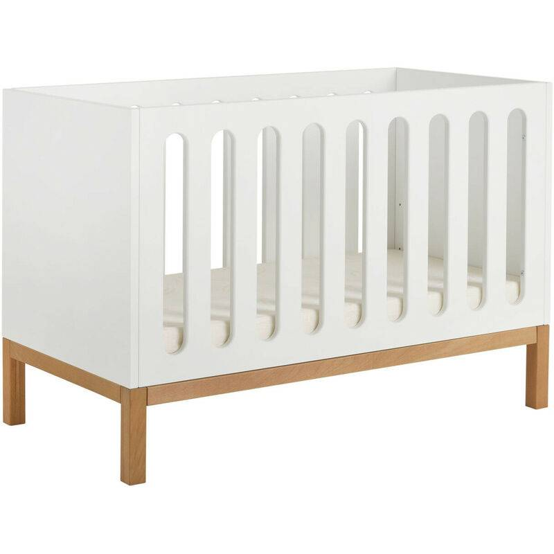 LES TENDANCES Lit bébé évolutif 60x120 cm bois blanc et pieds hêtre Miel