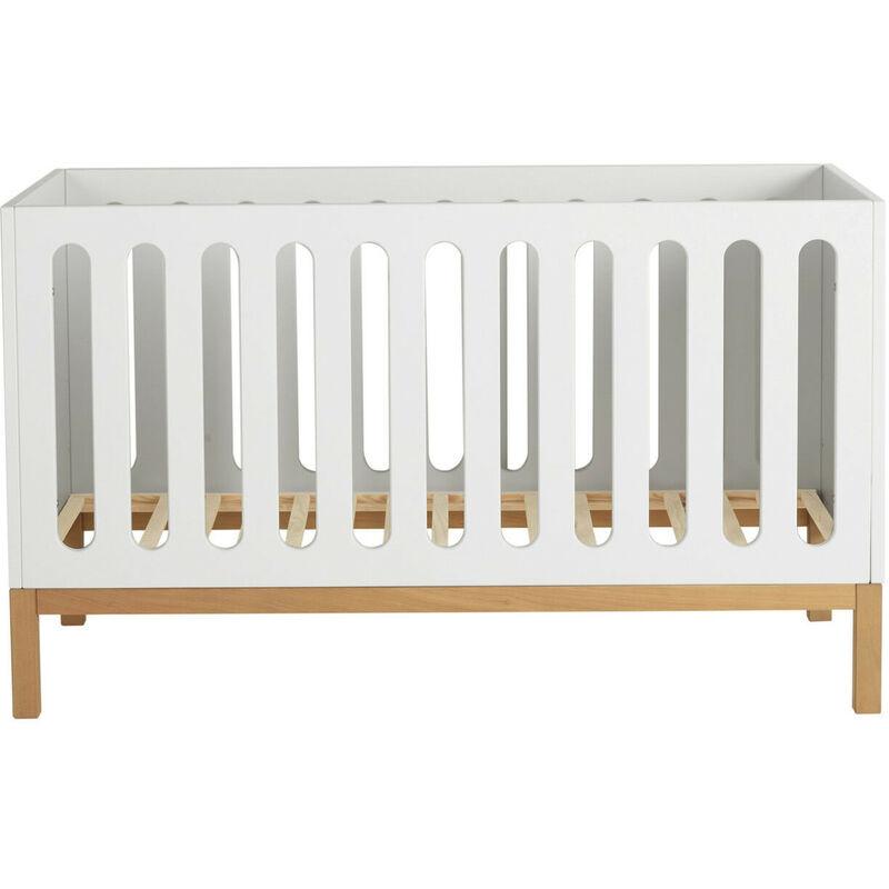 LES TENDANCES Lit bébé évolutif 70x140 cm bois blanc et pieds hêtre Miel