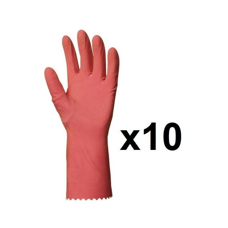 EUROPROTECTION 10 paires de Gants de ménage en latex rose EUROPROTECTION - Taille: 8