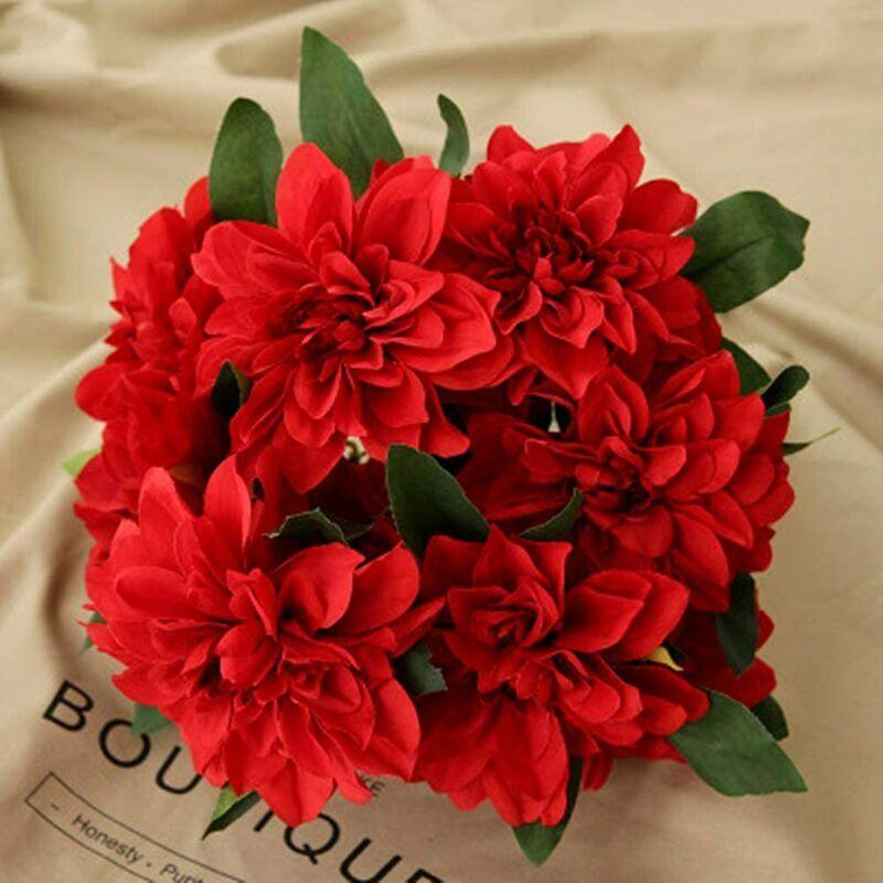 SUNFLOWER 10 Têtes Dahlia Faux Fleurs Artificielle Dahlia Fleurs Faux Fleurs pour La Maison De Mariage Fournitures De Bureau Rouge