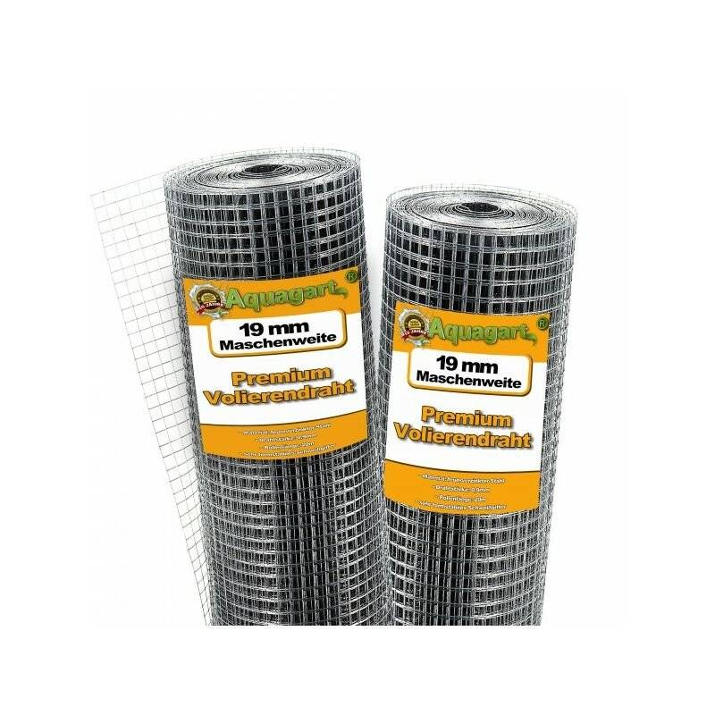 AQUAGART 100 m x 1 m grillage pour volière, grille métallique, grillage soudé, grillage noué, clôture en fil de fer