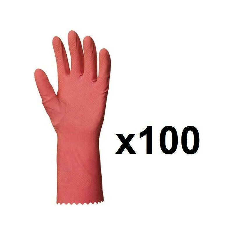 EUROPROTECTION 100 paires de Gants de ménage en latex rose EUROPROTECTION - Taille: 10
