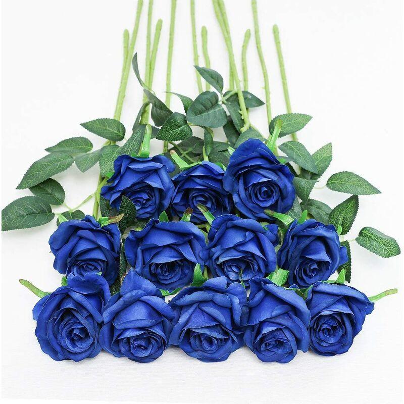 Abcrital - 12 PCS Roses Artificielles, 19,68 '' Simple Longue Tige Faux Rose Soie Bouquet De Mariage De Mariée Fleur Réaliste pour La Maison Garden