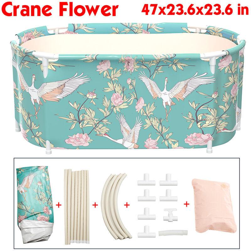 TIGA 120x60x60cm Baignoire Adulte Enfant Portable PVC Baignoire Pliante Intérieur Maison Spa Seau De Bain (Fleur De Grue)