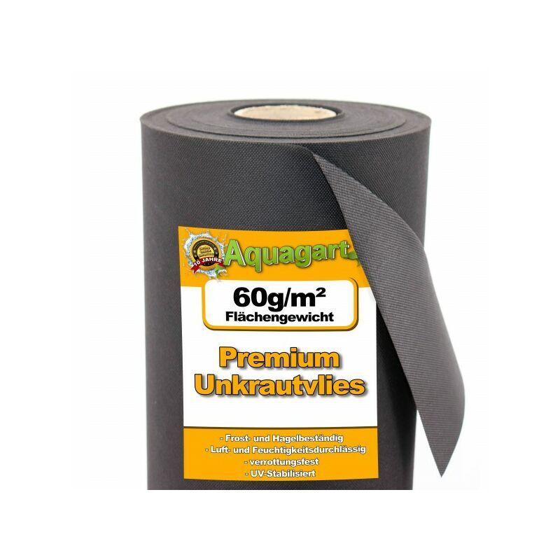 AQUAGART 128 m² film de paillage, feutre de paillage anti-mauvaises herbes, toile de paillage, non-tissé 60 g 1,6 m de large