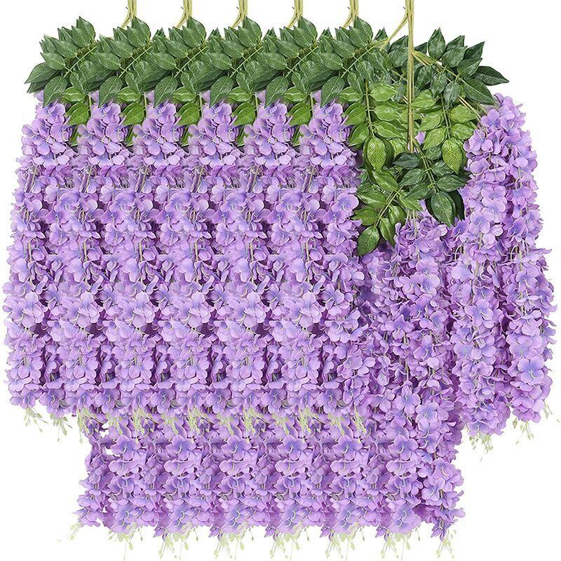 SUNFLOWER 12Pack Plantes Suspendues Artificielles, Feuilles Artificielles Fleur de Glycine Pourpre Fausse Vigne Plante Suspendue Guirlande Vert Faux Plante