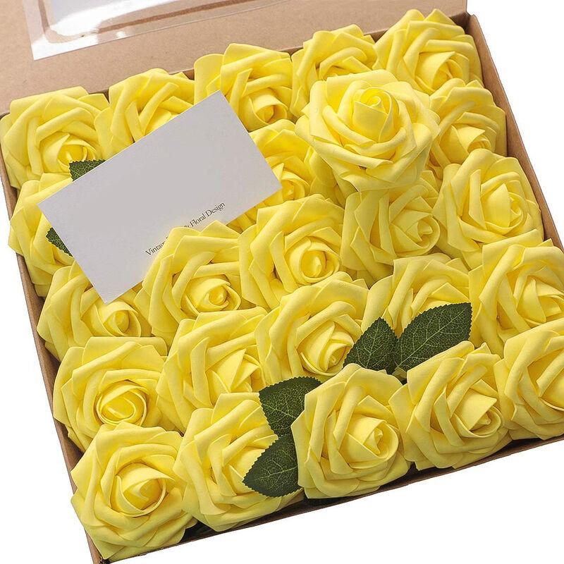 SUNFLOWER 25 Pièces Fleurs Artificielles Vraie Mousse Faux Roses avec Tiges pour DIY Bouquets De Mariage Centres De Table Arrangements Tables De Fête Maison