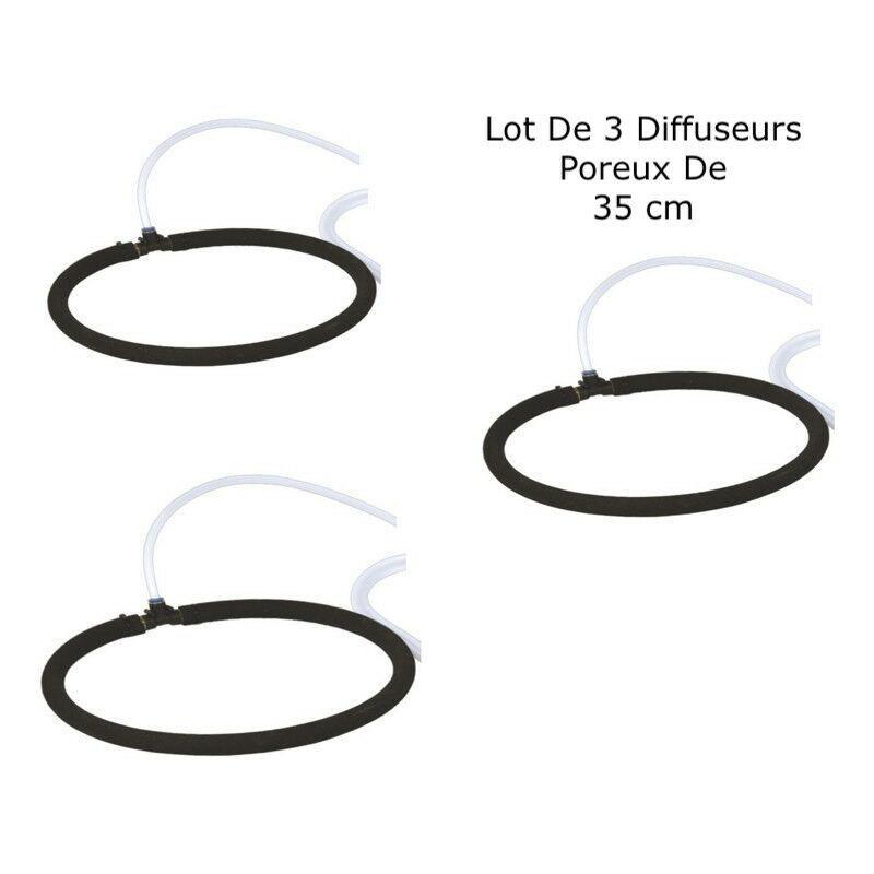 LEPOISSONQUIJARDINEFR 3 Diffuseurs D'Air Poreux 35 cm Pour Bassins De Jardin + Tuyau - Noir
