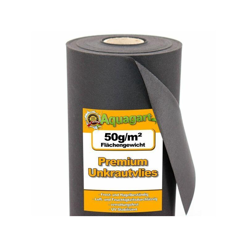 AQUAGART 48 m² film de paillage, feutre de paillage anti-mauvaises herbes, toile de paillage, non-tissé 50 g 1,6 m de large