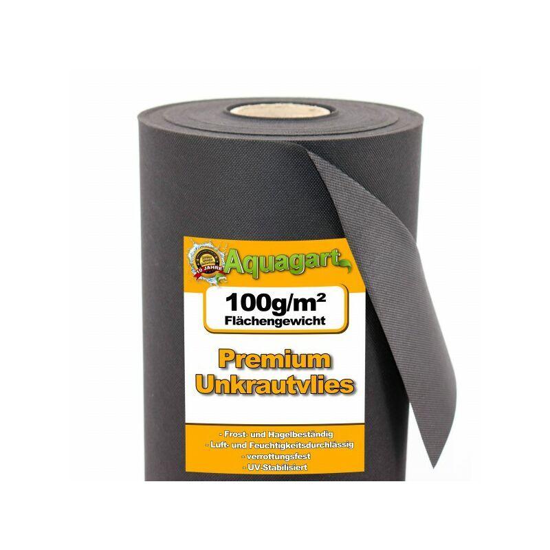 AQUAGART 48 m² film de paillage, paillage anti-mauvaises herbes, voile de paillage 100 g, 1,6 m de large