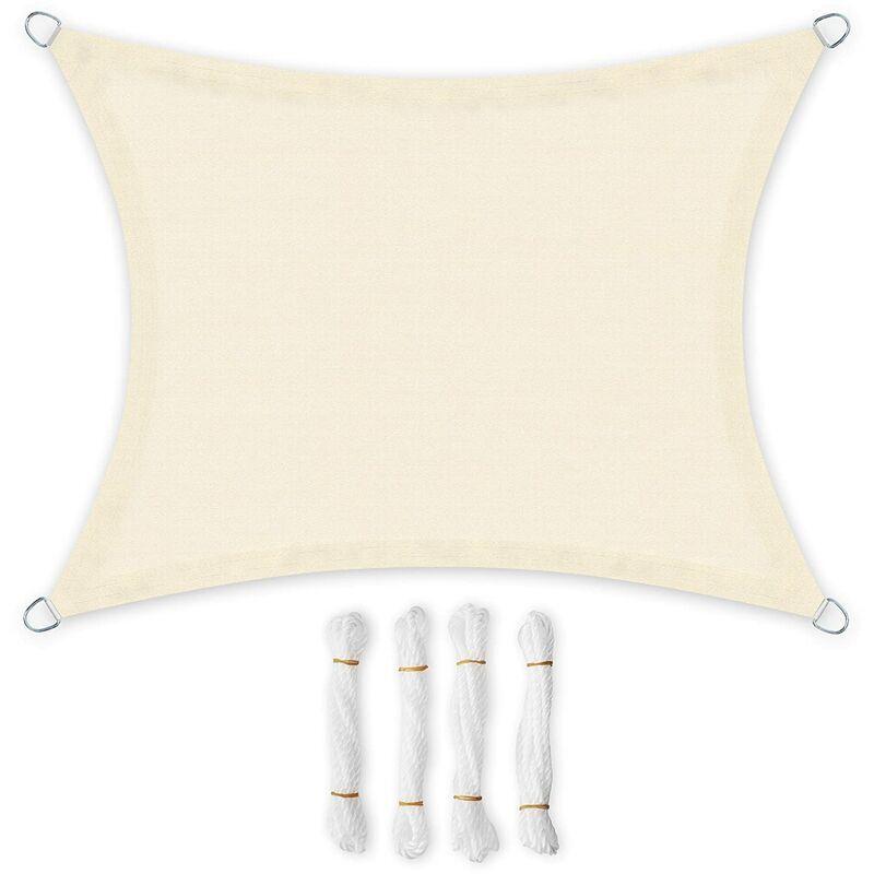 Songmics - 3 x 4m Voile d'ombrage en HDPE Protection Solaire Protection Anti UV Perméable à l'air pour le jardin, le balcon Respirant Perméable à