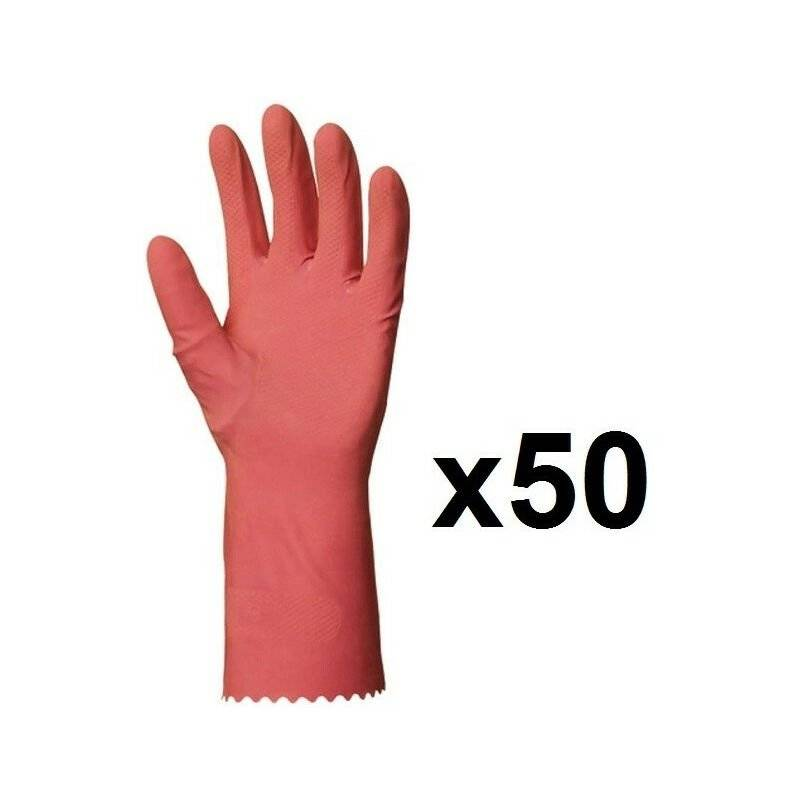 EUROPROTECTION 50 paires de Gants de ménage en latex rose EUROPROTECTION - Taille: 8