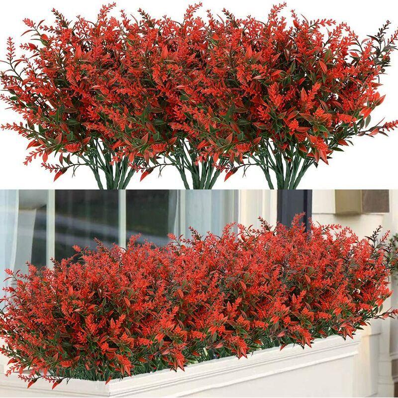 SUNFLOWER 8 paquets de faux fleurs de lavande artificielle en plein air arbustes résistants aux UV, verdure en faux plastique pour plantes suspendues à