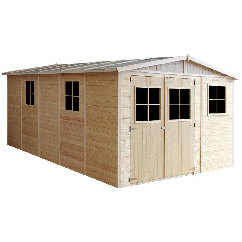 TIMBELA ABRI de jardin en bois Exterieur AVEC LES PLANCHERS IMPRÉGNÉ - Chalet en Pin/épicéa- H226x324x516 cm/15 m²- Construction de Panneaux- Rangement pour