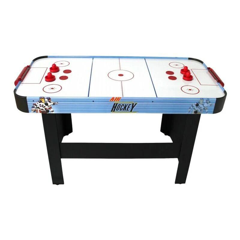 PLAY4FUN Air Hockey Teenager - Table de Air-Hockey avec système d'air pulsé 6-8W - 142 x 72 x 81 cm - Bleu/Noir - Bleu