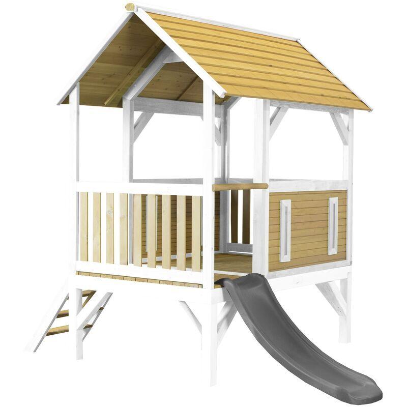 AXI Akela Maison Enfant avec Toboggan Gris   Aire de Jeux pour l'extérieur en Marron & Blanc   Maisonnette / Cabane de Jeu en Bois FSC