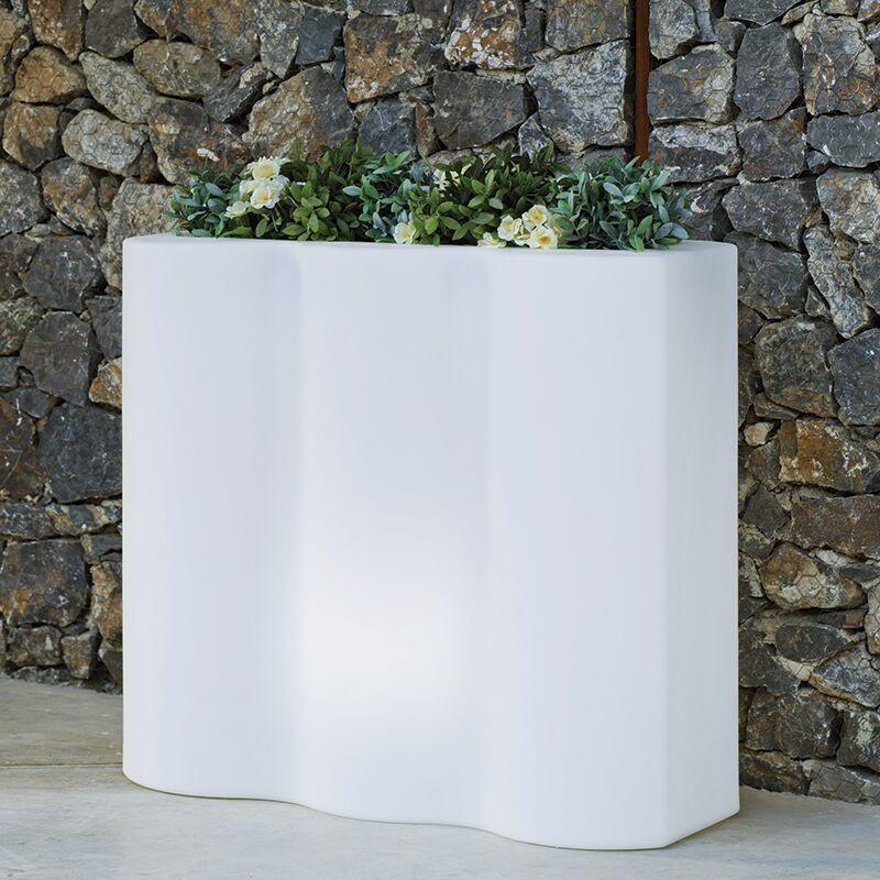 MOOVERE Bac à fleurs rectangulaire lumineux jardinière solaire+batterie rechargeable intérieur extérieur - Moovere