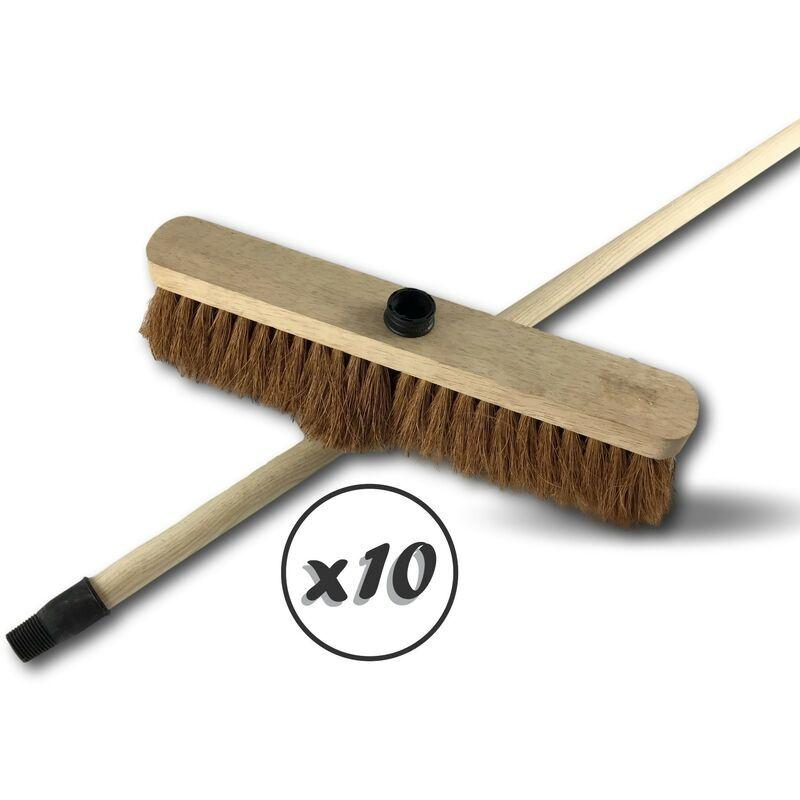 KIBROS Balai de ménage en fibres de coco naturel long 37,5 cm - Lot de 10 - Balai coco 37,5 cm