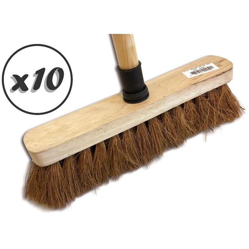 KIBROS Balai de ménage en fibres de coco naturel   Semelle bois   Douille vissante plastique - Lot de 10 - Manche bois