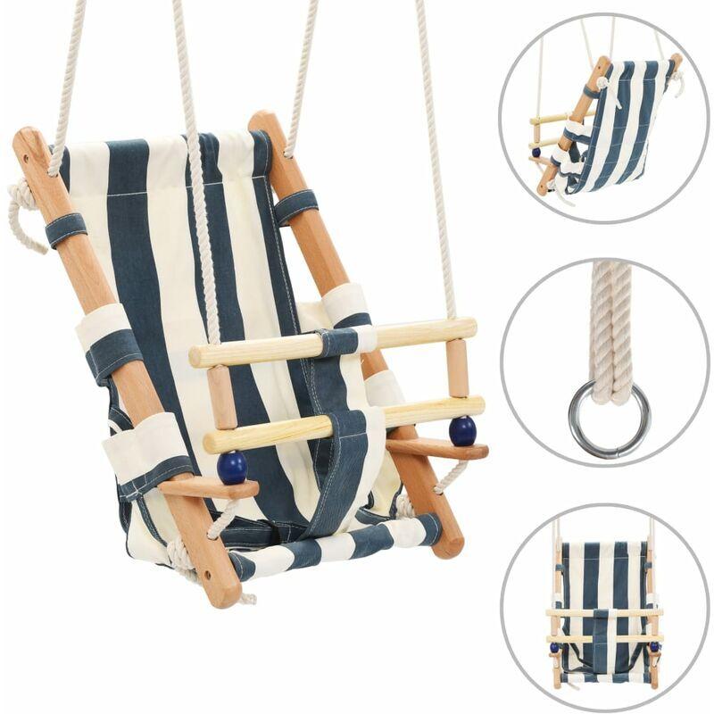 BETTERLIFE Balançoire pour bébé avec ceinture de sécurité Coton Bois Bleu10503-A
