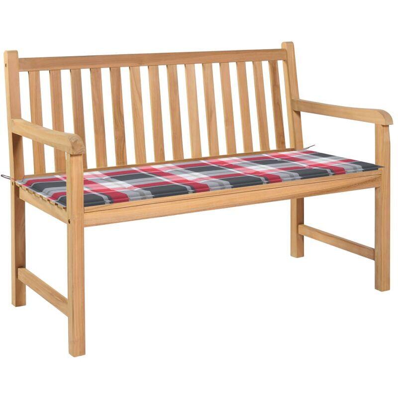 Betterlife - Banc de jardin avec coussin à carreaux rouge 120 cm Teck massif4805-A