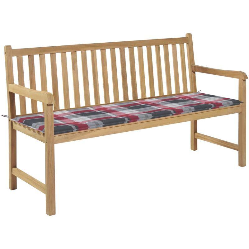 Betterlife - Banc de jardin avec coussin à carreaux rouge 150 cm Teck massif4830-A