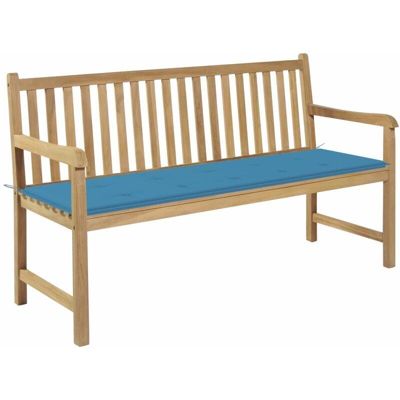 Betterlife - Banc de jardin avec coussin bleu 150 cm Bois de teck massif4821-A