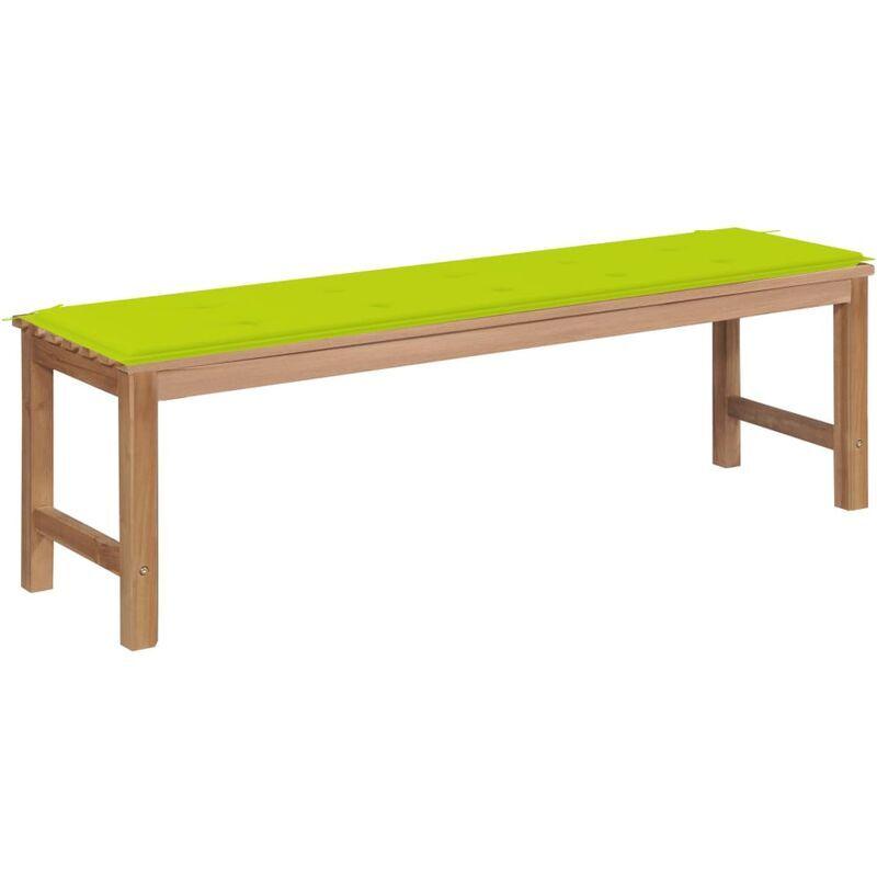 Betterlife - Banc de jardin avec coussin vert vif 150 cm Bois de teck massif4874-A