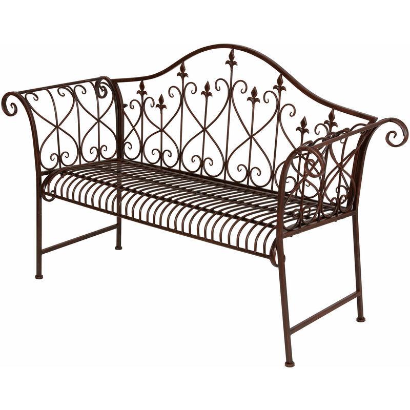SPETEBO Banc de jardin en métal, brun rouillé