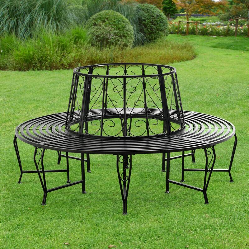 [EN.CASA] Banc de Jardin Rond pour Arbre Meuble Extérieur Robuste Circulaire de 360° 160 x 84 cm Acier Noir