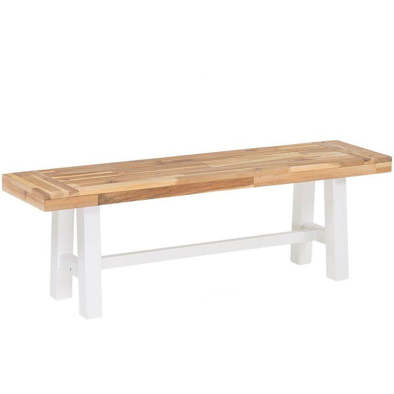 BELIANI Banc de jardin en bois avec pieds blancs SCANIA