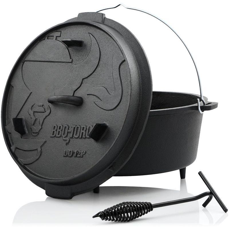 BBQ-TORO Dutch Oven DO12P   13,6 litres   Premium marmite en fonte - Bbq-toro