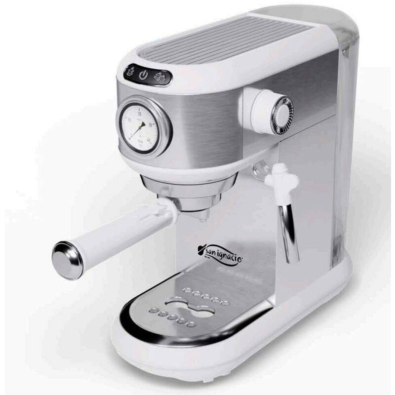 SAN IGNACIO Cafetière espresso acier inoxydable 20bar - mousseur à lait - pompe italienne - chauffe-tasses superior - -. - San Ignacio