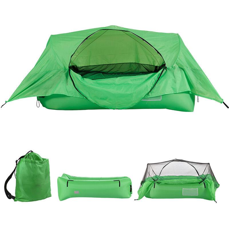ASUPERMALL Tente A Coussin D'Air 2 En 1, Canape Pneumatique Gonflable, Tente De Suspension De Camping En Plein Air Portable Avec Toit, Vert