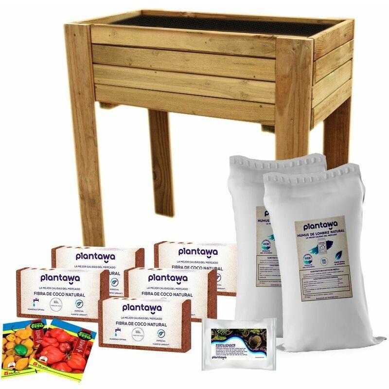 PLANTAWA Carré Potager Kit Complet (Table de Culture 80 x 44.5 x 80 cm Sacs Humus de Ver de Terre Briques Fibres de Noix de Coco Engrais Graines Piments)