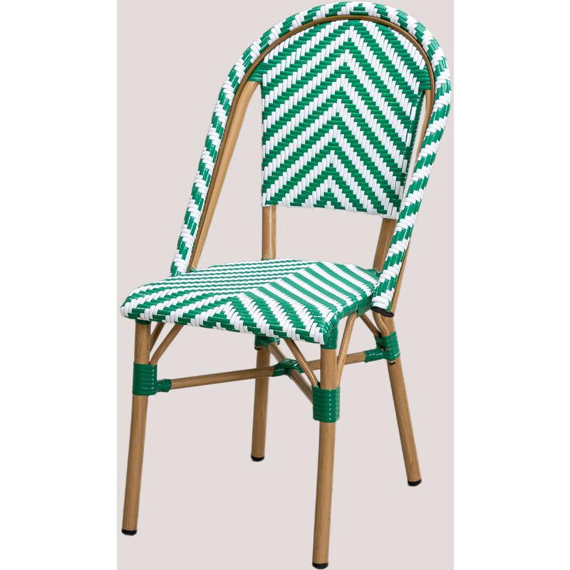 SKLUM Chaise de jardin en osier synthétique Kalian Osier PE - Aluminium - Vert Amazone - Sklum