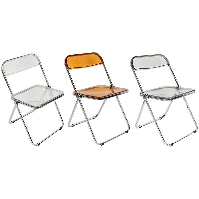 BATHRINS chaises pliantes,2pcs,Ménage Transparent Dossier Tabouret Maquillage Chaise Salle À Manger Chaise En Plastique Ménage Acrylique Chaise Extérieure