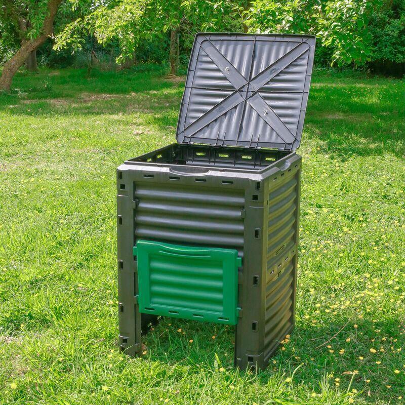 SKYLANTERN Composteur de Jardin 300L Vert Polypropylène - Bac à Composte Vert de Jardin, poubelle à compost en plastique - Composteur de Jardin pour déchets