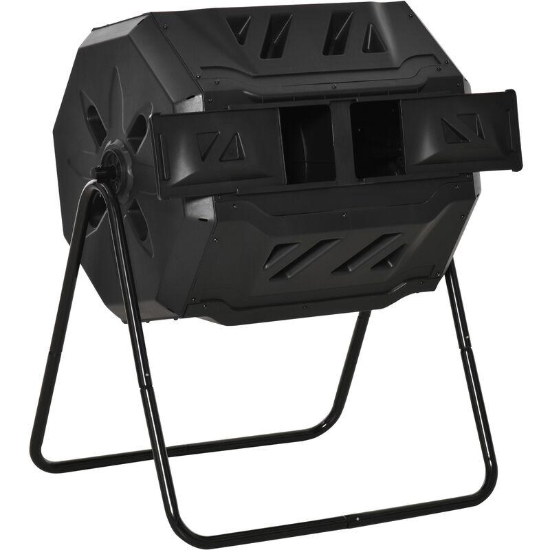 Outsunny Composteur de jardin - bac à compost pour déchets - rotatif 360° - double chambre 160 L - acier PP noir