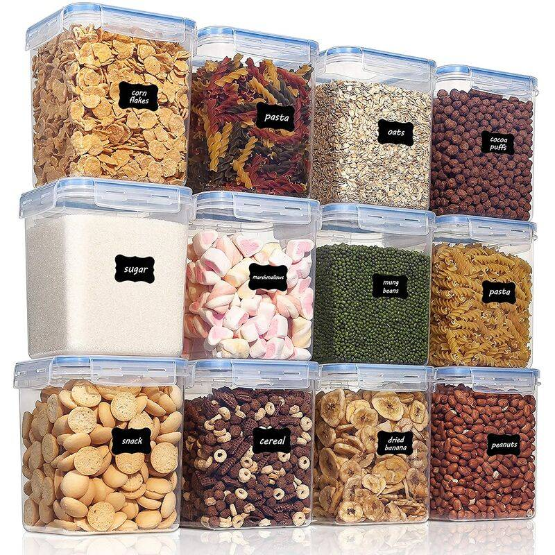 Briday - Conteneurs hermétiques de stockage des aliments 12 pièces 2.3qt / 2.5L - Contenants de stockage de garde-manger en plastique sans BPA pour