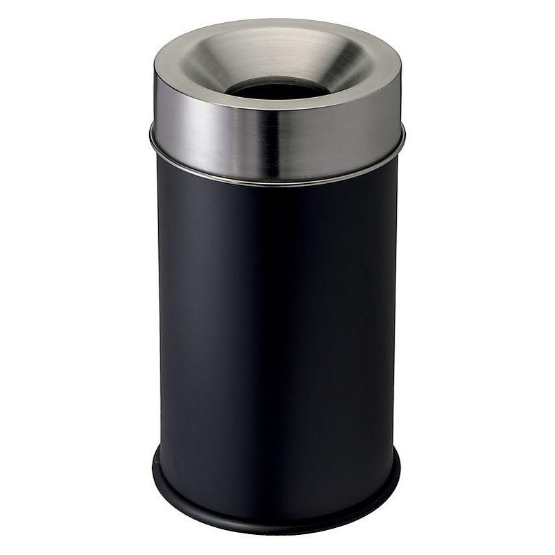 CERTEO Corbeille anti-feu avec tête inox   acier inoxydable peint époxy   Noir-Inox   50 litres   335x590   Grisù vip   1 - Noir