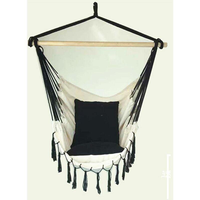 INSMA Corde de chaise hamac suspendue pompon avec 2 coussins siege de Balancoire de jardin à la maison Interieur Exterieur blanc, avec tige
