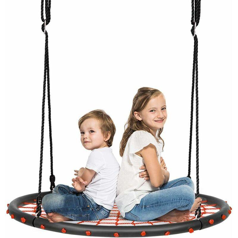 COSTWAY balançoire nid d'oiseau rond 100cm balançoire d'arbre en plein air pour enfants charge maximale 150 kg extérieur noir corde réglable 100-160cm