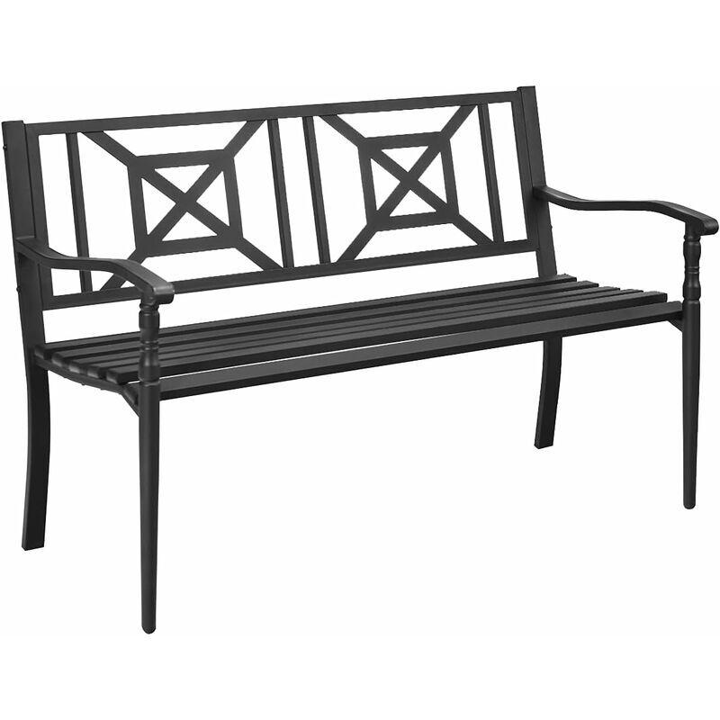 COSTWAY Banc de Jardin 2-3 Places Cadre en Fer avec Dossier et Accoudoirs Charge 228 kg pour Jardin Cour Pelouse Véranda Noir - Costway