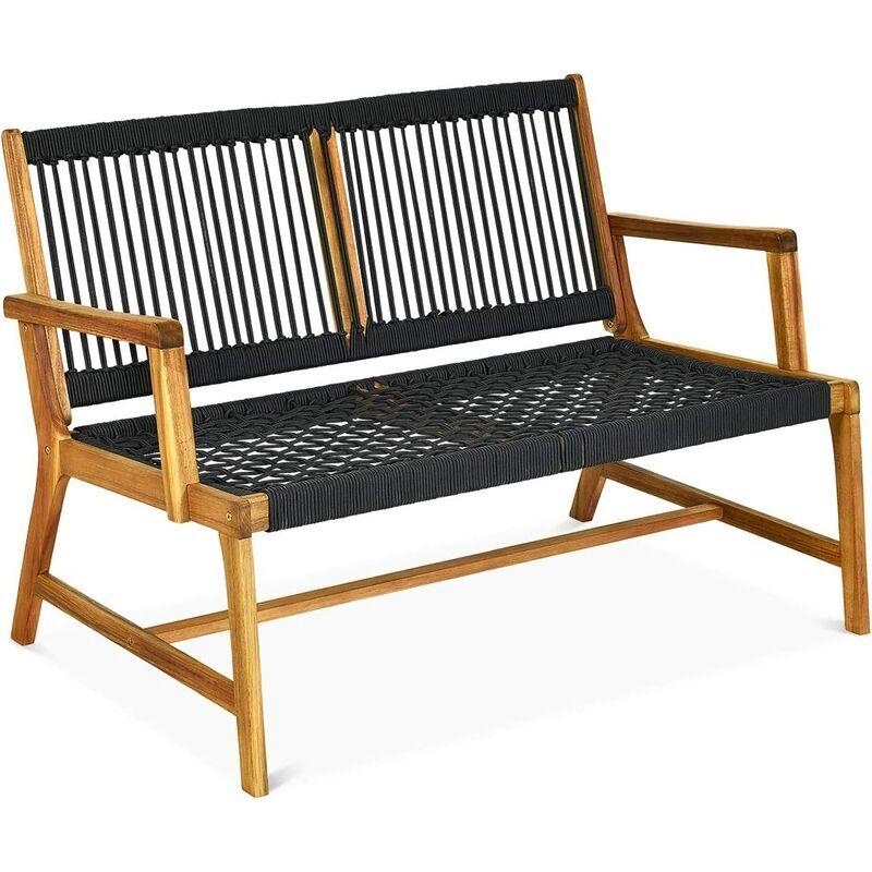 COSTWAY Banc de Jardin en Bois d'Acacia 2 Places Assise Dossier en Corde Tressée Charge Max 320 kg avec Finition à l'Huile de Teck - Costway